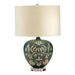 Cyan Designs Tan and Aqua Cyprus 1 Light Table Lamp