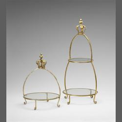 Cyan Designs Gold 30in. Crowned Two Tier Stand