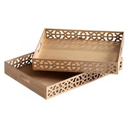 Cyan Designs Ash Veneer 23.5in. Rectangular Xoxo Trays