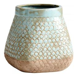 Cyan Designs Sandstone / Blue 9in. Small Pershing Planter