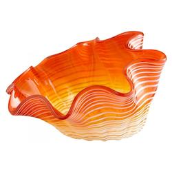 Cyan Designs Orange Teacup Party 9.5 Inch Wide Glass Decorative Bowl