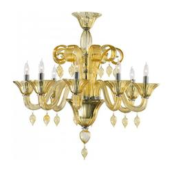 Cyan Designs Eight Light Chrome Amber Murano Glass Up Chandelier