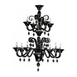 Cyan Designs Twelve Light Chrome Black Murano Glass Up Chandelier