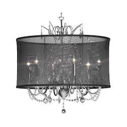 Dainolite Six Light Chrome Drum Shade Chandelier