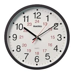 Dainolite Magnus Bk -12In.Office Clock 12/24