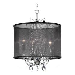 Dainolite Three Light Chrome Drum Shade Chandelier