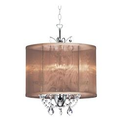 Dainolite Three Light Chrome Drum Shade Pendant
