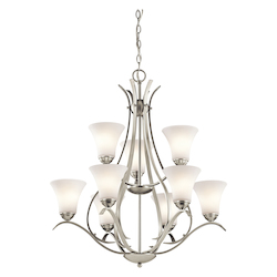 Kichler Kichler 43506Ni Brushed Nickel Keiran 2-Tier Chandelier With 9 Lights