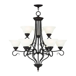 Livex Lighting Bronze Coronado 9 Light 2 Tier Chandelier