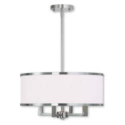Livex Lighting Brushed Nickel Park Ridge 4 Light 1 Tier Drum Chandelier