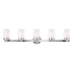 Livex Lighting Brushed Nickel Manhattan 5 Light Bathroom Vanity Light