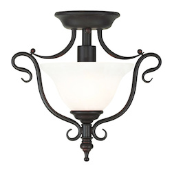 Livex Lighting Bronze Coronado 1 Light Semi-Flush Ceiling Fixture
