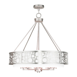 Livex Lighting Brushed Nickel Avalon 8 Light 1 Tier Drum Chandelier
