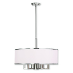Livex Lighting Brushed Nickel Park Ridge 6 Light 1 Tier Drum Chandelier