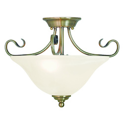 Livex Lighting Antique Brass Coronado 2 Light Semi-Flush Ceiling Fixture