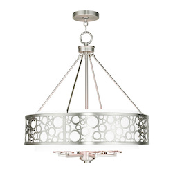 Livex Lighting Brushed Nickel Avalon 6 Light 1 Tier Drum Chandelier
