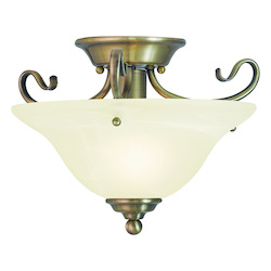 Livex Lighting Antique Brass Coronado 1 Light Semi-Flush Ceiling Fixture