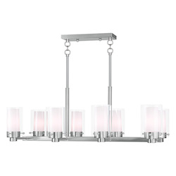 Livex Lighting Brushed Nickel Manhattan 8 Light 1 Tier Linear Chandelier