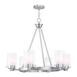 Livex Lighting Brushed Nickel Manhattan 6 Light 1 Tier Chandelier