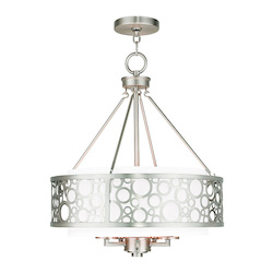 Livex Lighting Brushed Nickel Avalon 5 Light 1 Tier Drum Chandelier