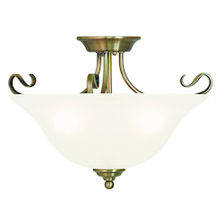 Livex Lighting Antique Brass Coronado 3 Light Semi-Flush Ceiling Fixture