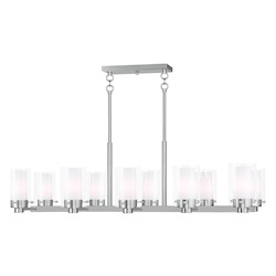 Livex Lighting Brushed Nickel Manhattan 10 Light 1 Tier Linear Chandelier