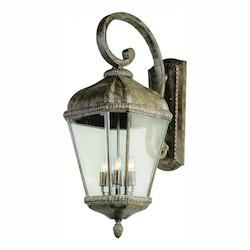 Trans Globe Four Light Burnished Rust Clear Seeded Glass Wall Lantern