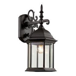 Trans Globe One Light Black Clear Beveled Glass Wall Lantern