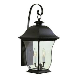Trans Globe Two Light Black Clear Beveled Curved Rectangle Glass Wall Lantern