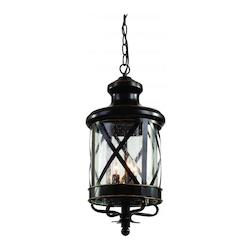 Trans Globe Four Light Rubbed Oil Bronze Clear Seeded Glass Hanging Lantern