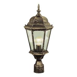 Trans Globe One Light Rust Clear Beveled Glass Post Light