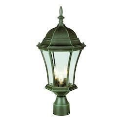 Trans Globe Three Light Verde Green Clear Curved Glass Post Light