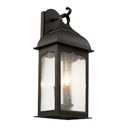 Trans Globe Three Light Rubbed Oil Bronze Clear Seeded Glass Wall Lantern