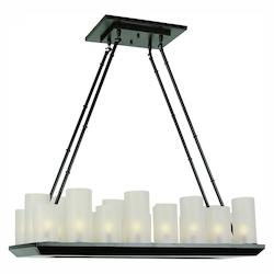 Trans Globe Open Box Eighteen Light Rubbed Oil Bronze Frosted Cylinders Glass Candle Island