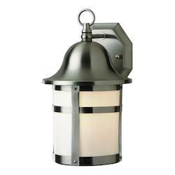 Trans Globe One Light Brushed Nickel White Frosted Glass Wall Lantern