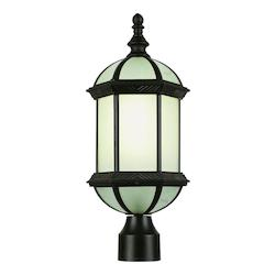 Trans Globe One Light Rust Frosted Beveled Glass Post Light