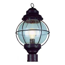 Trans Globe One Light Rustic Bronze Clear Seeded Glass Post Light