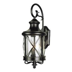 Trans Globe Two Light Rubbed Oil Bronze Clear Seeded Glass Wall Lantern