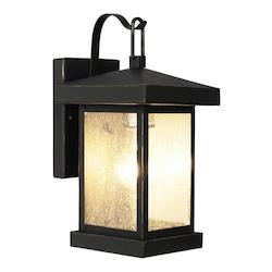 Trans Globe One Light Weathered Bronze Amber Seeded Glass Wall Lantern