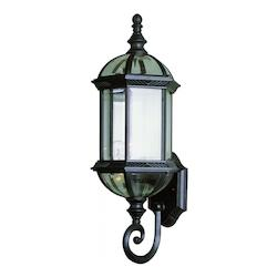 Trans Globe Open Box One Light Swedish Iron Clear Beveled Hexagon Glass Wall Lantern