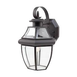 Trans Globe One Light Black Clear Beveled Curved Glass Wall Lantern