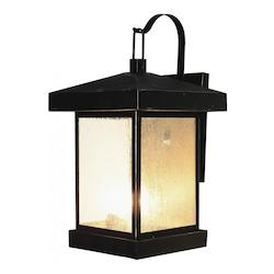 Trans Globe Three Light Weathered Bronze Amber Seeded Glass Wall Lantern