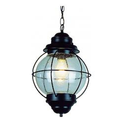 Trans Globe One Light Black Clear Seeded Glass Hanging Lantern