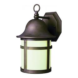 Trans Globe One Light Weathered Bronze White Frosted Glass Wall Lantern