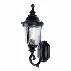 Trans Globe One Light Black Gold Clear Crackled Finish Glass Wall Lantern