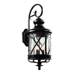 Trans Globe Open Box Four Light Rubbed Oil Bronze Clear Seeded Glass Wall Lantern