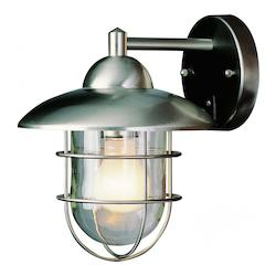 Trans Globe One Light Clear Glass Stainless Steel Wall Lantern