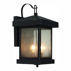 Trans Globe Two Light Weathered Bronze Amber Seeded Glass Wall Lantern