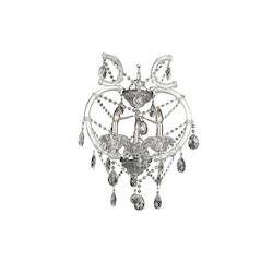 Bethel 3 Light Clear Crystal And Iron Chrome Chandelier