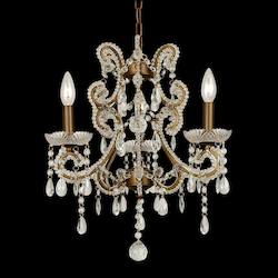 Bethel 3 Light Clear Crystal Gold Frame Ceiling Fixture